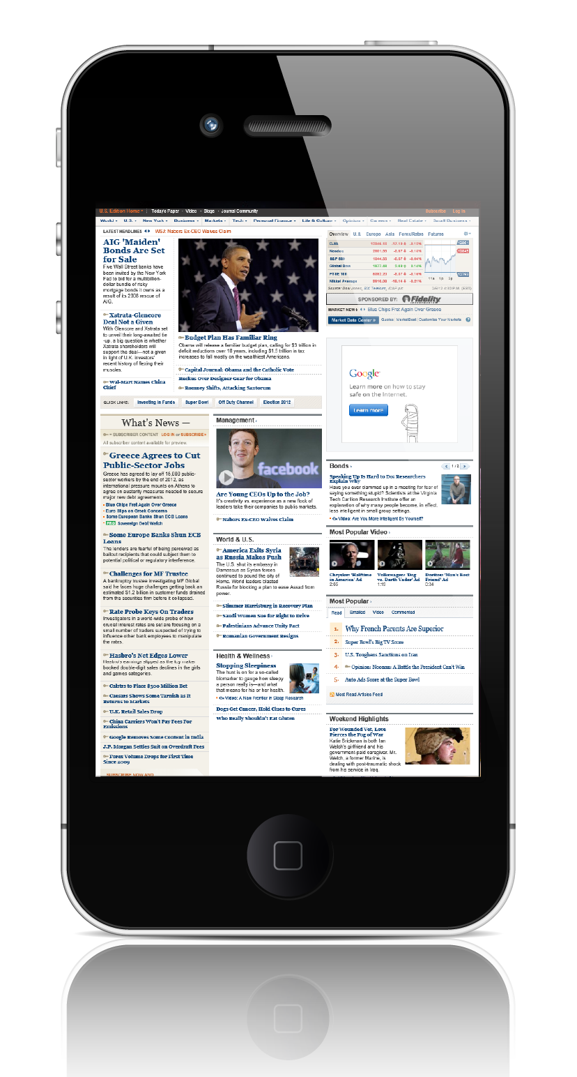 wall street journal web page